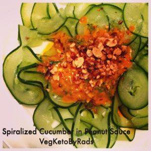 blogpost Spriralized Cucumber noodles in spicy Thai peanut sauce recipehellip