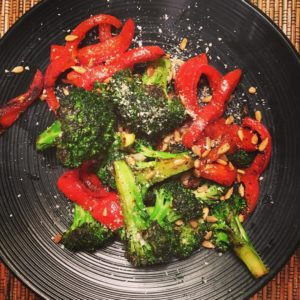 dinner Pan Roasted Broccoli and Red Pepper in butter flavoredhellip